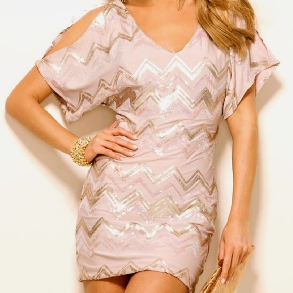Profile Dresses & Skirts - PROFILE Sequin Chevron Mini Dress